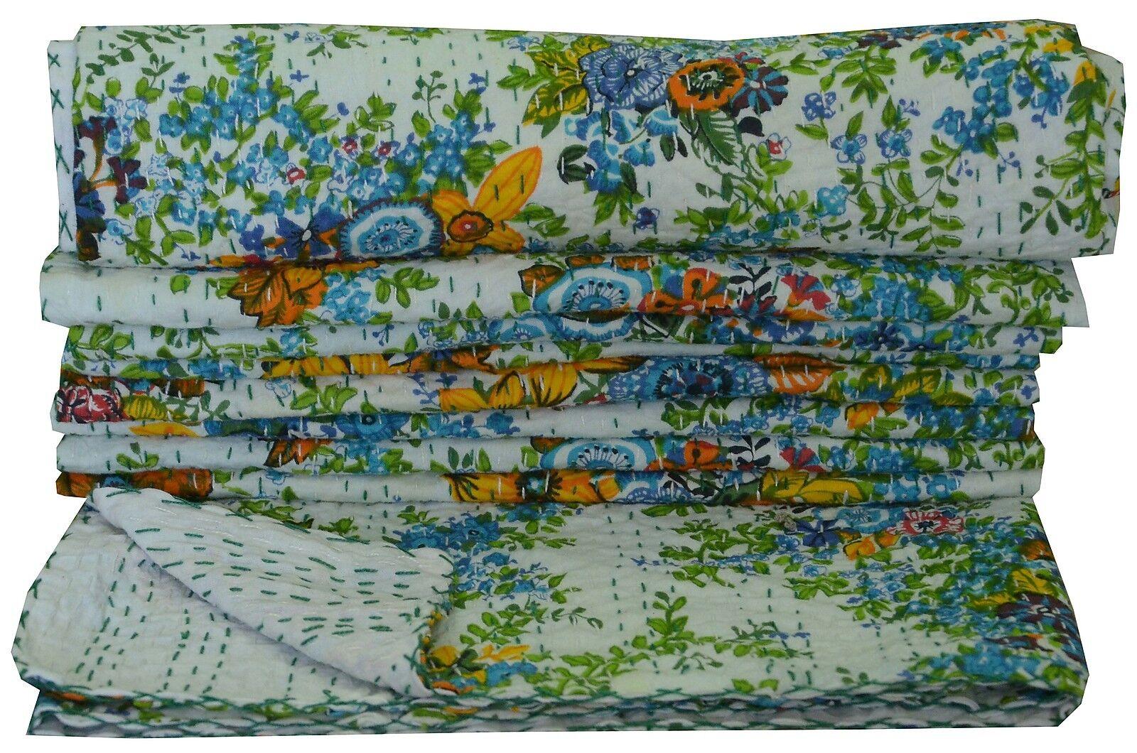 Indian Cotton Kantha Quilt Throw Weiß Gudari Floral Printed Bedspread Twin Größe