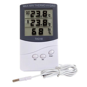 Home 1.5m Probe Cord for Bedroom Office Digital Indoor Outdoor Thermometer Hygrometer Temperature and Humidity Monitor With LCD Screen Alarm Clock