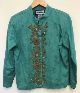 16d8ddf6e79 Image is loading Indigo-Moon-Womens-Green-Embroidered-Embellished-Sequin- Jacket-