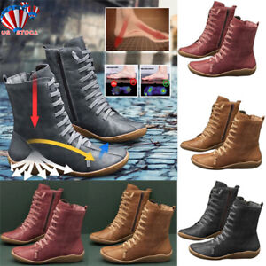 womens arch support wedge boots lace up casual flat heel