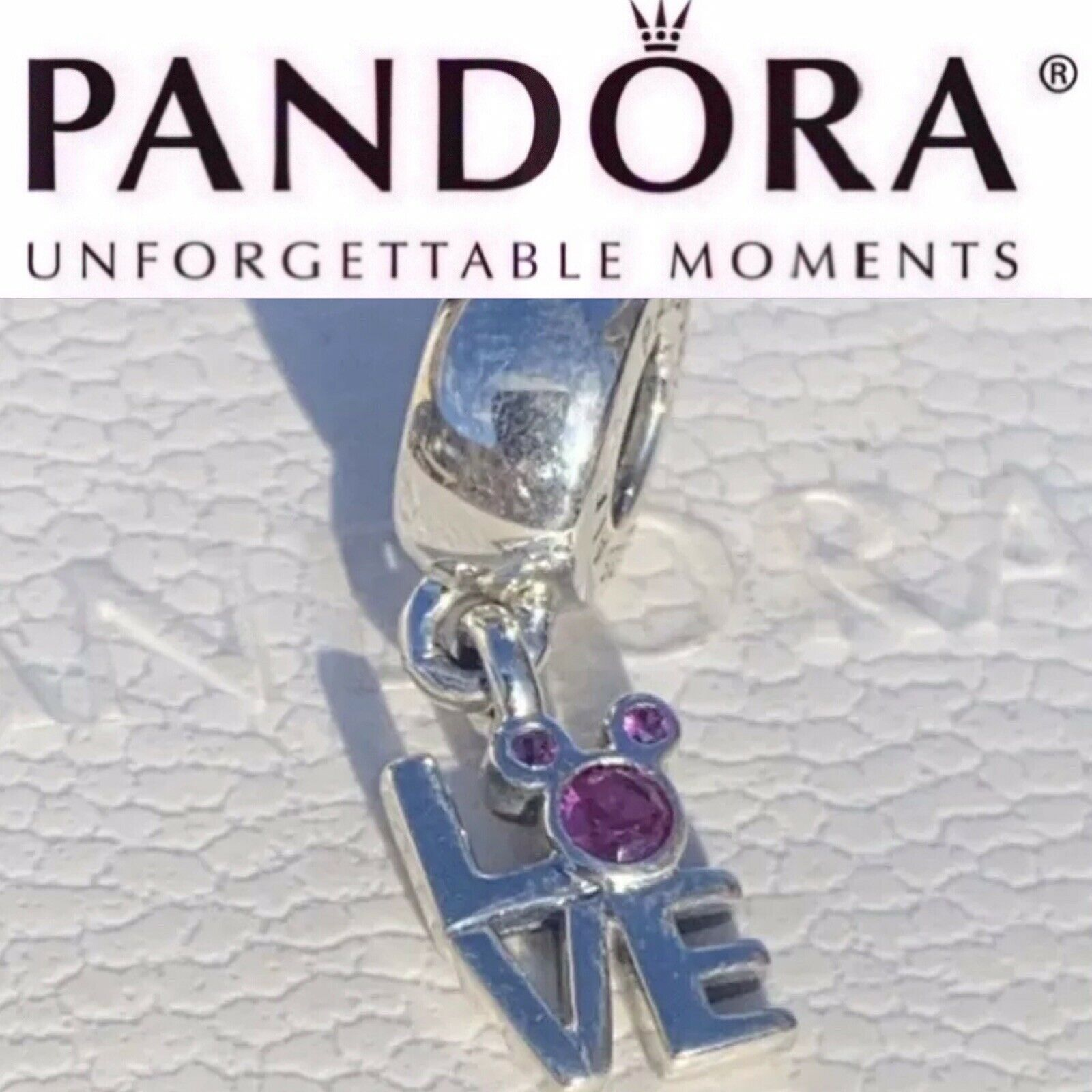 New Authentic Pandora Charm Disney Love Mickey Dangle 791448CZR