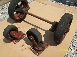 ANTIQUE VINTAGE INDUSTRIAL CART COFFEE TABLE CAST IRON WHEELS