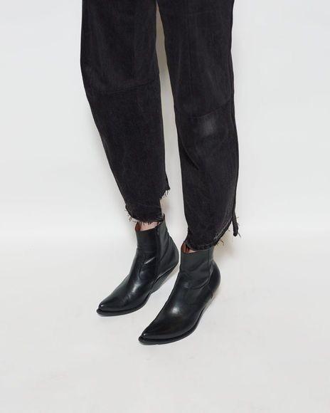 Vetements Demna Gvasalia Slanted Heel Black Leather Cowboy Ankle Boots- 7US / 37