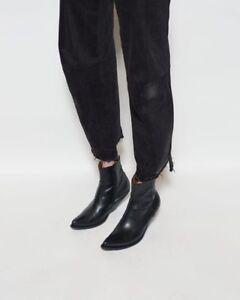 f4d8ec285dc Details about Vetements Demna Gvasalia Slanted Heel Black Leather Cowboy  Ankle Boots- 7US / 37