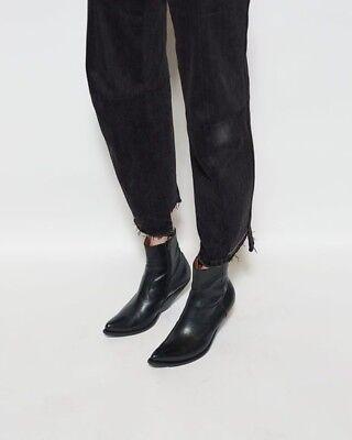0a2b07a8683 Vetements Demna Gvasalia Slanted Heel Black Leather Cowboy Ankle Boots- 7US  / 37 | eBay
