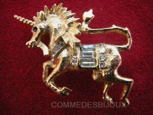 """Broche """"licorne"""" Dorée Fantaisy Unicorn Mythique Chance - Bijoux Vintage Sphinx"""