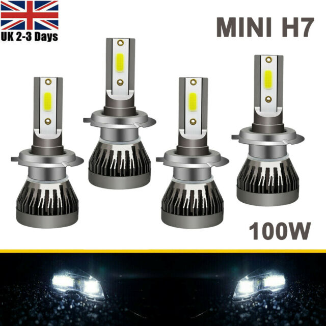 H7 55w Ice cool blue Xenon 12v Dipped Headlight Bulbs 501 4 Led Sidelights