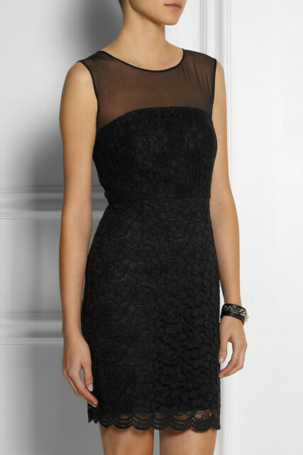 NWT- DVF Nisha Sleeveless Illusion Black Lace Sheath Dress - Size 8