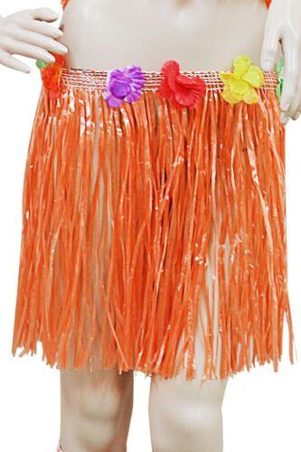 Hawaiian Fancy Dress Hula Straw Skirt With Flower Lei Adult Costume 80 or 40 CM