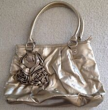 "New York and Company Gold Purse with Rose Embellishment 13"" X 14"""