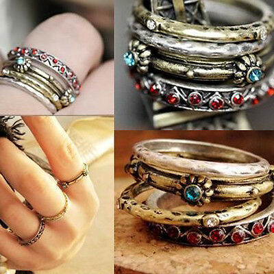 1 Set of 4pcs Women Girls Retro Vintage Punk Crystal Rhinestone Finger Rings Hot