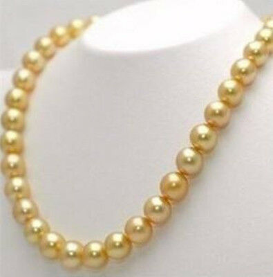 """10mm Golden South Sea Shell Pearl Necklace 36/"""" AAA+"""