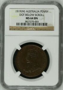 Australia 1919 Penny NGC MS64 BN dot below scroll - rare in very high grades