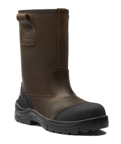 UOMO taglia 5-12 Dickies Stafford pelliccia con sicurezza Rigger Work Boots marrone