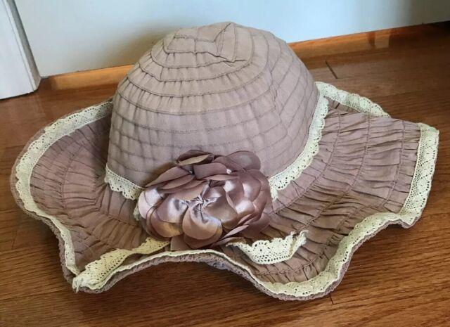 Sun N Sand Headwear Women S Large Sun Hat Pink Floral Flower Ribbon Crochet Ebay