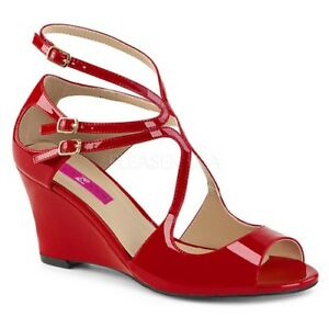 d21605fc1c23 Pleaser KIMBERLY-04 Womens Red Patent Strappy Wedge Sandal Cutout ...