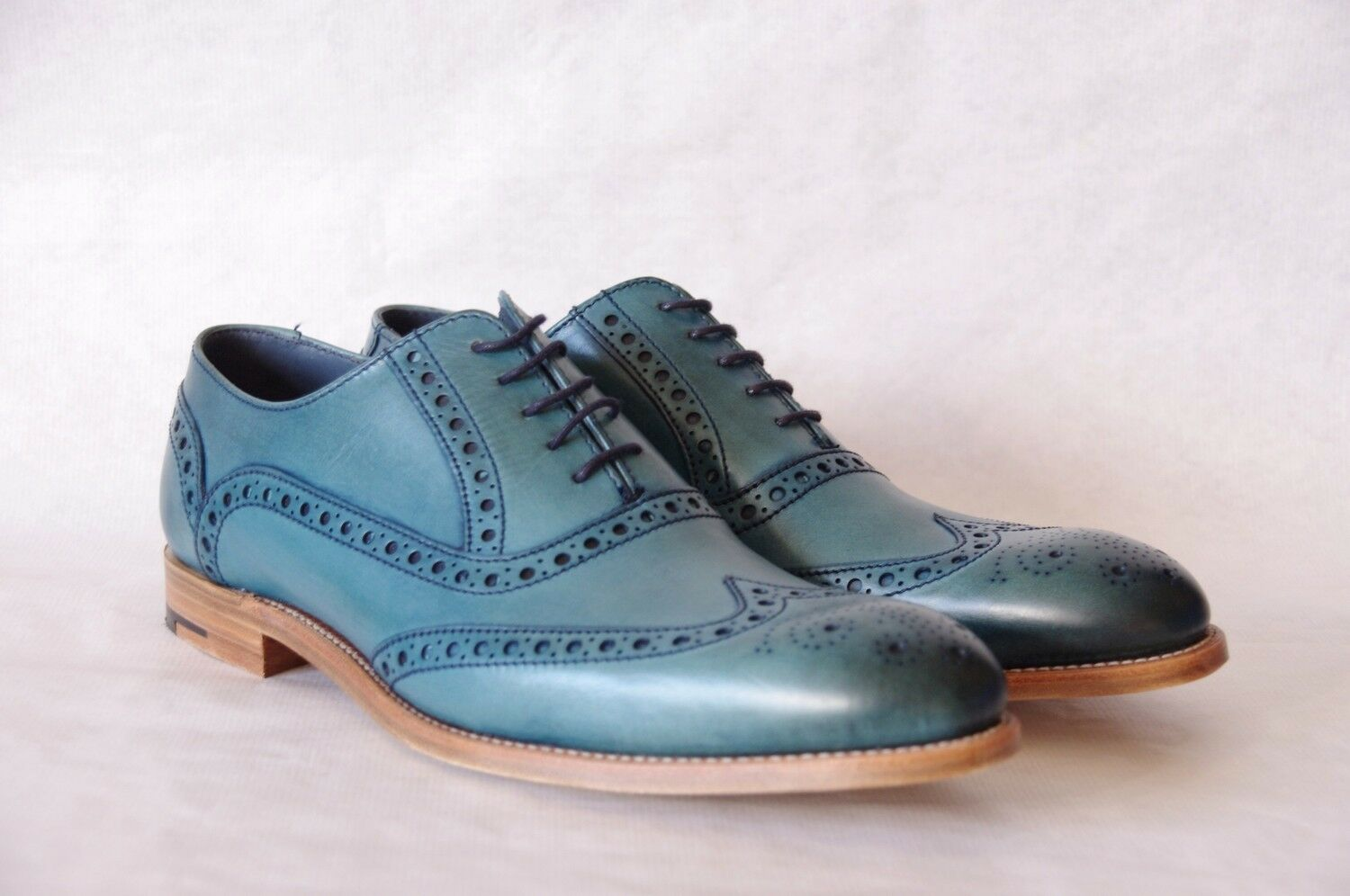BARKER Grant 2 blu calf leather brogue scarpe S 10F EU BNIB val.
