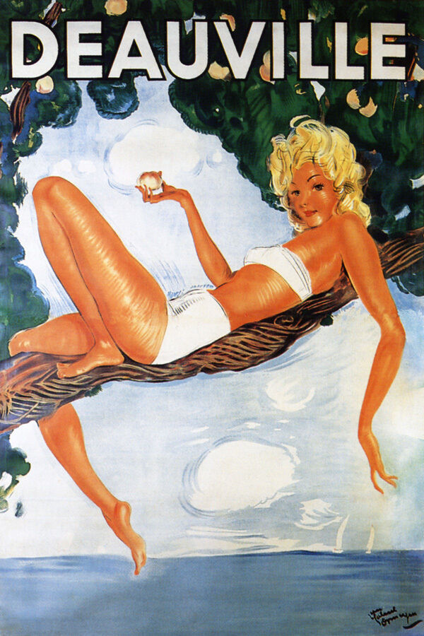 FASHION WOMAN RESTING IN TREE DEAUVILLE BEACH TRAVEL FRENCH VINTAGE POSTER REPRO