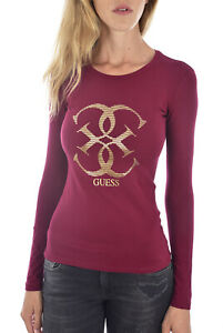 GUESS-TEE-SHIRT-A-MANCHES-LONGUES-W94I95-J1300-ROUGE-FEMME
