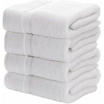 4 new white cotton hotel bath towels large 27x54 hotel premium plush 17# dozen