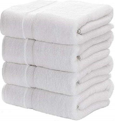 4 new white cotton hotel bath towels large 27x54 hotel premium plush 17# dozen