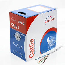 1000FT Cat5e LAN Ethernet Cable / Pull Box UTP Cat-5e Solid Network Wire White