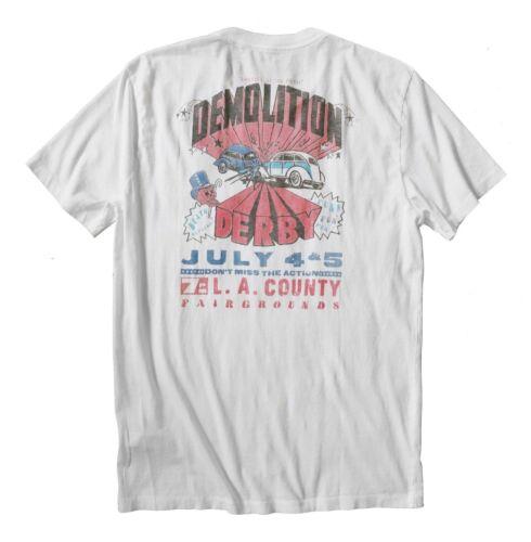 Men/'s XL NWT Lucky Brand White Demolition Derby LA County California Tee