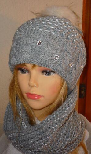 Damen Mütze Beanie Loopschal Set m Wolle hellgrau Glit Pailetten  handgestrickt