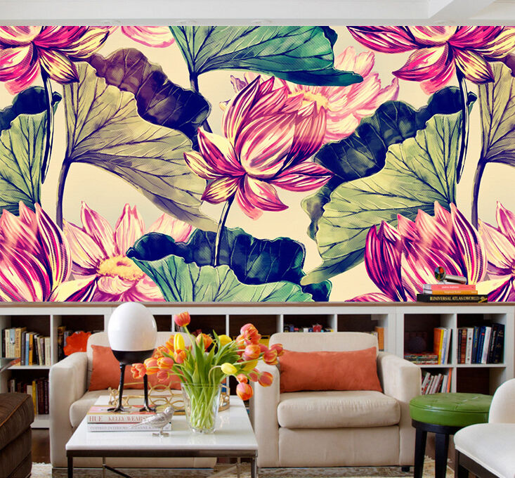 3D Lotus lotus leaf painting wall Paper Print Decal Wall Deco Indoor wall Mural