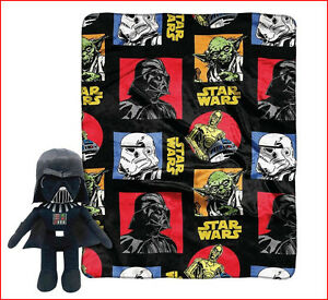 "2 pc- STAR WARS Classic THROW 40 x 50 + 15"" Tall DARTH VADER Action Figure Black"