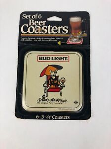 Rare-1986-Budweiser-Bud-Light-Spuds-MacKenzie-Coasters-Never-Opened-Dily-Dily