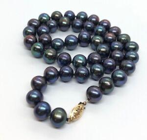 14k-Gold-Estate-Vintage-Necklace-Gray-Freshwater-Cultured-Pearl-Strand-18-54g