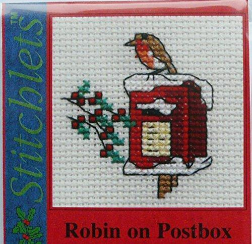 Robin on Postbox Stitchlet With card /& Envelope by Mouseloft