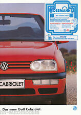 VW Golf Cabriolet Prospekt 1994 1 94 brochure Autoprospekt Auto PKWs Deutschland