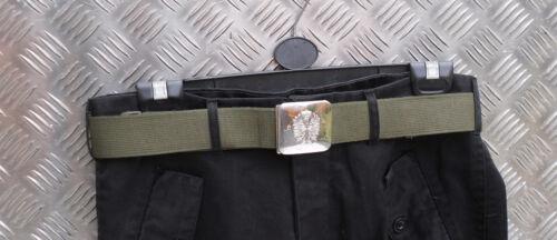 """Genuine Verde Esercito Spagnolo Tela Cintura W Argento Fibbia dimensioni fino a 38/"""" Girovita G2"""