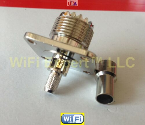 UHF SO239 Female FLANGE crimp RG58 LMR195 RG142 Cable Straight RF connector USA