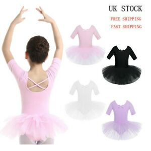 UK-Girls-Short-Sleeve-Dance-Dress-Leotard-Tutu-Skirt-Ballerina-Dancewear-Costume