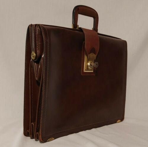 Vintage 50s Stronghold Cowhide Leather Briefcase S