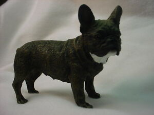 French Bulldog Dog Figurine Hand Painted Resin Statue Frenchie Black