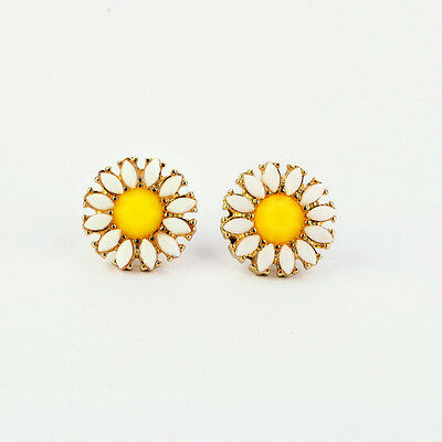 Cute Fashion Elegant Adorable Alloy Daisy Sunflower Shape Earrings EarStud