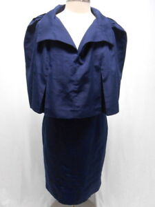 f0b9245a565d91 Image is loading YVES-SAINT-LAURENT-navy-2-PC-cape-outfit-