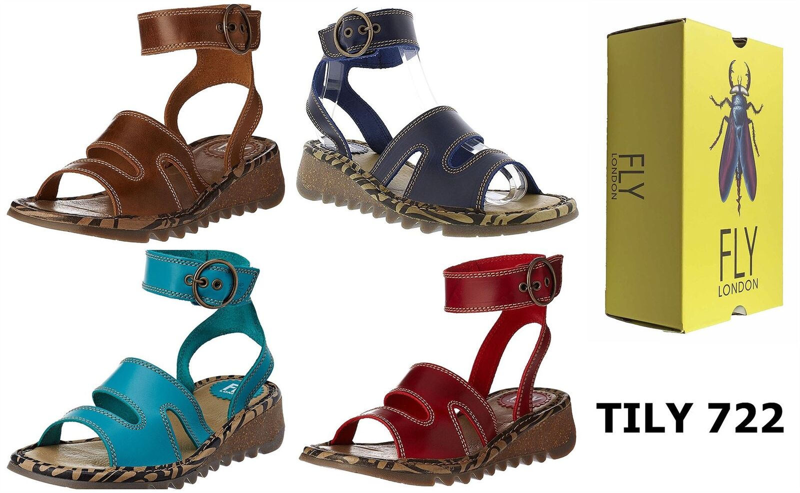 Fly London TILY722FLY Ladies Strappy Gladiator Style Leather Wedge Sandals   sconto online di vendita