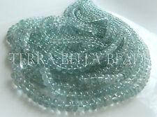"8"" light MOSS AQUAMARINE smooth polished gem stone rondelle beads 4mm - 6mm blue"