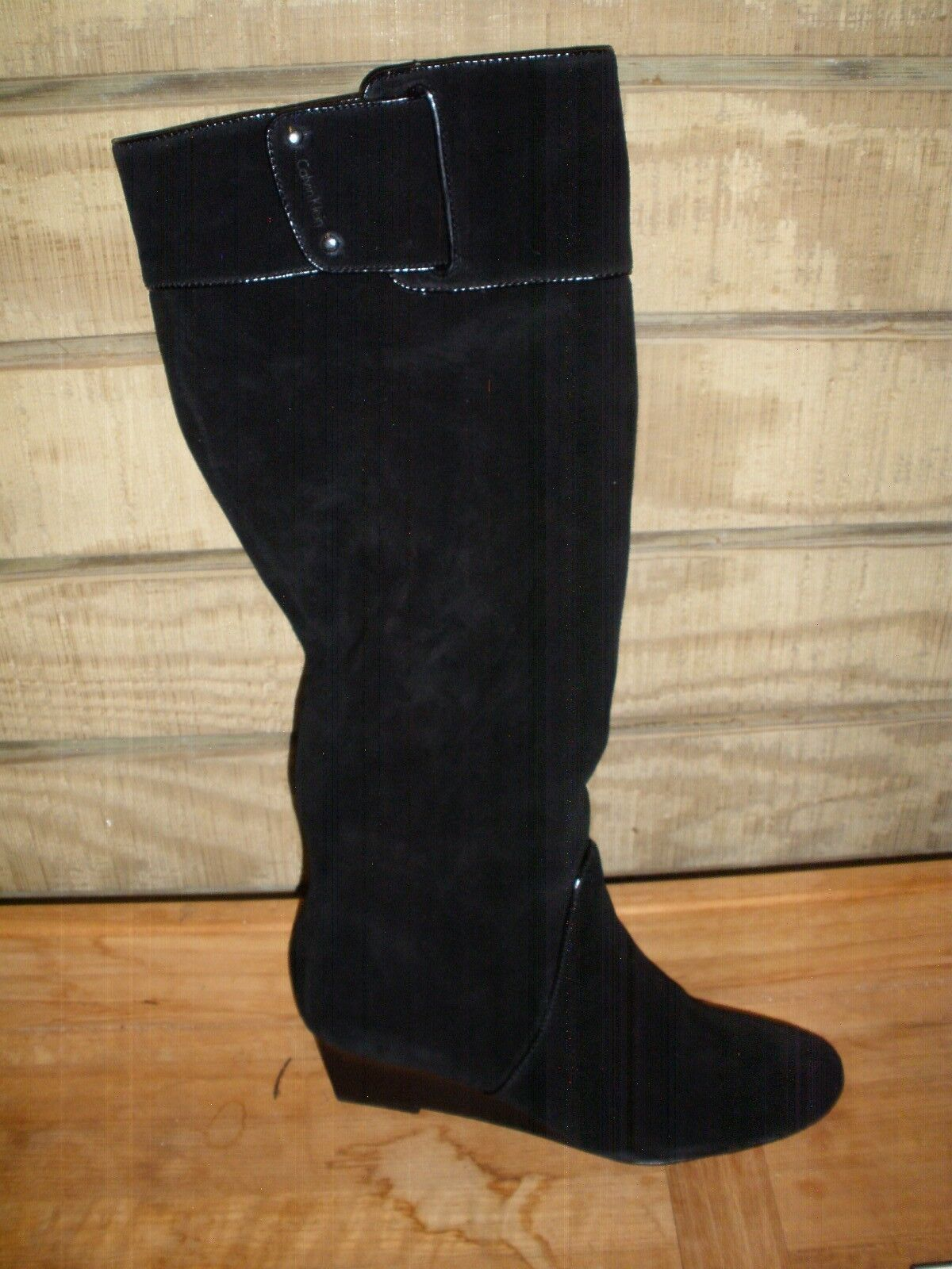 Calvin Klein Helenah Suede Leather Black Boots 6 1/2  M New Full Side Zipper