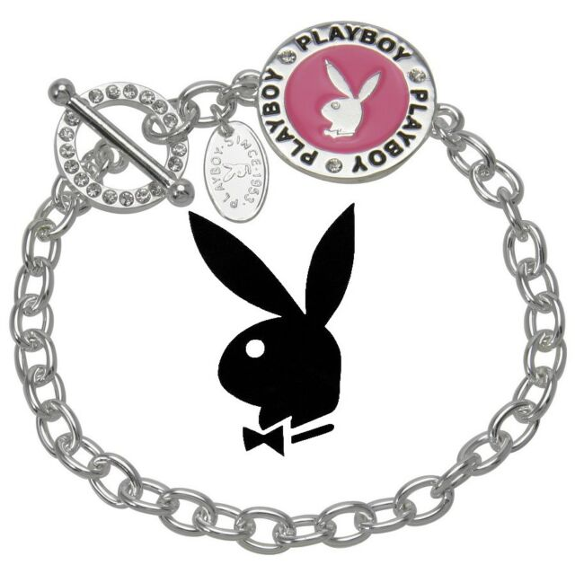 Playboy Bracelet Bunny Charm Silver Pink Enamel Crystal Gem CZ Toggle Clasp NIB