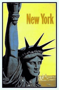 Statue Of Liberty New York Tin Sign Shield Arched Metal 20 X 30 CM