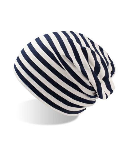 Damen//Herren Striped Jersey  Beanie Streifen Striped  Slouch Mütze Baumwolle