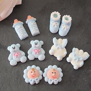 10 blue iced baby boy christening baby shower cupcake toppers cake decorations - Wilton baby shower cake toppers ...