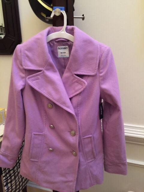 BRAND NEW NWT OLD NAVY Women's Classic Wool-Blend Coat X-SMALL XS Peacoat PURPLE