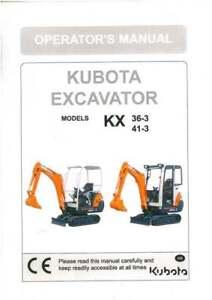 Kubota kx36-3 kx41-3s kx41-3v excavator workshop service repair.